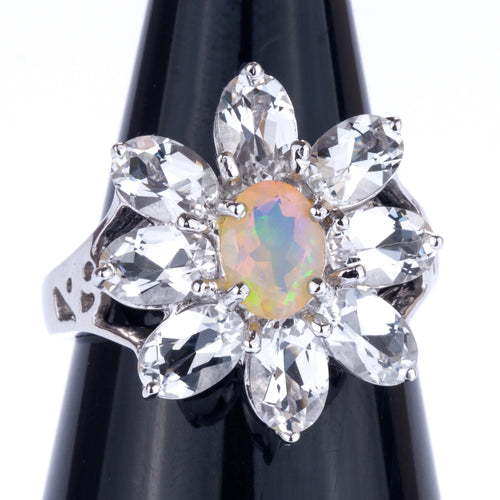 Opal and White topaz Ring in Sterling Silver