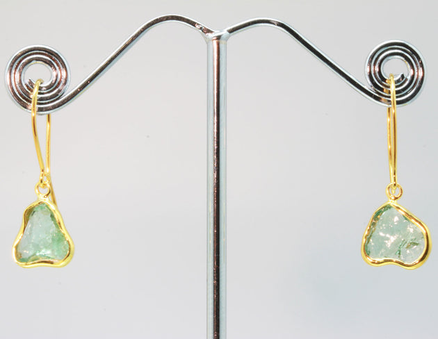 Light Green Tourmaline Shard Gold Earrings