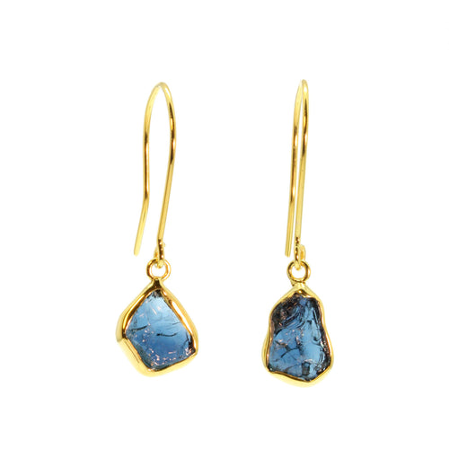 Dark Blue Tourmaline Shard Gold Earrings