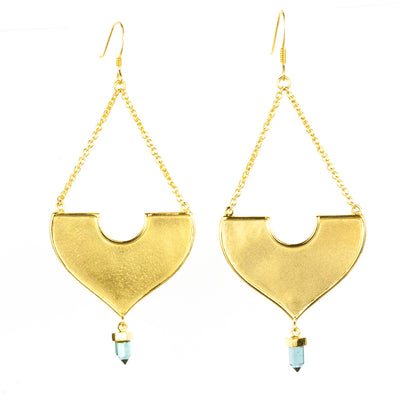 Hanging Blue Tourmaline Gold Earrings