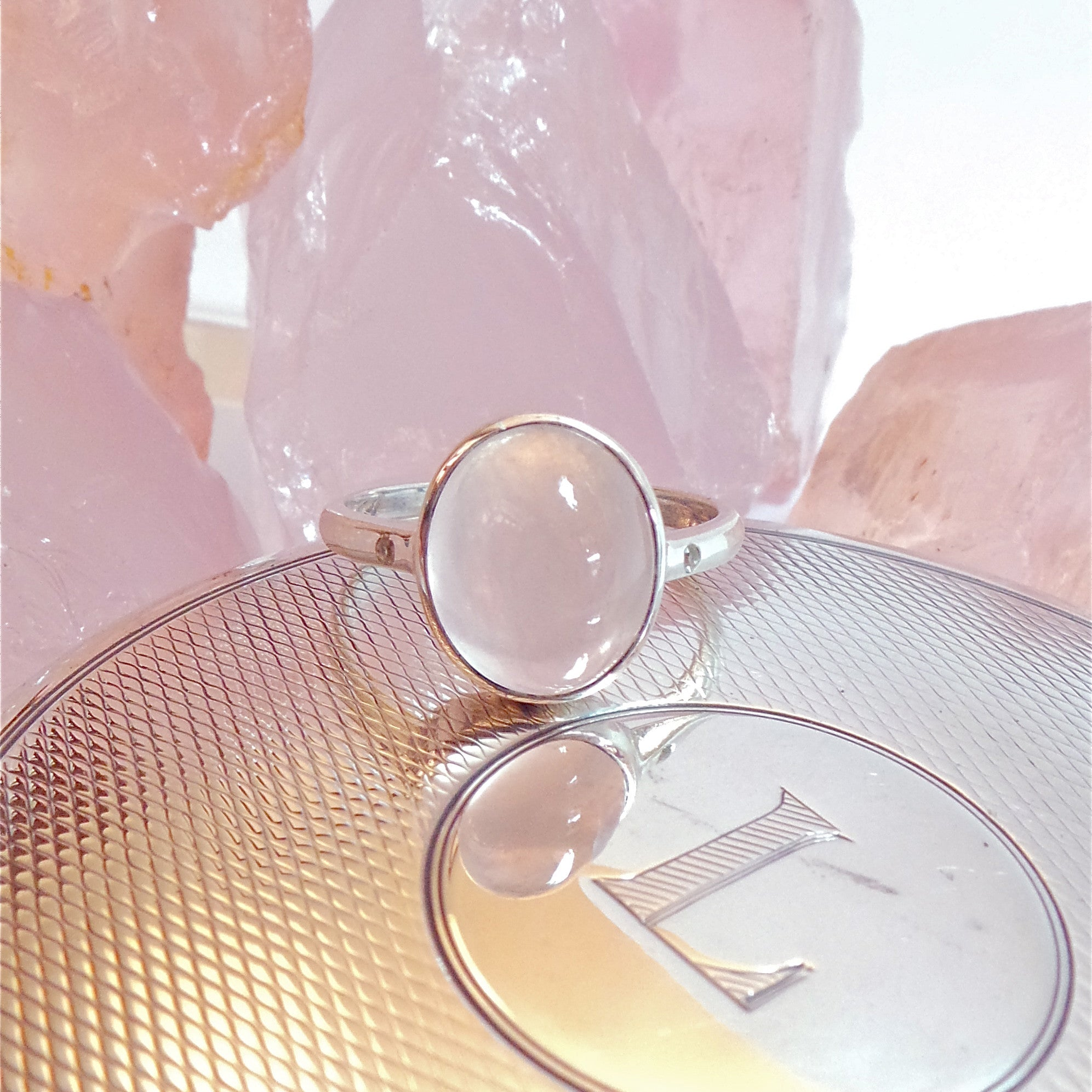 Mozambique Rose Quartz Cabochon and White Sapphire 925 Silver Ring