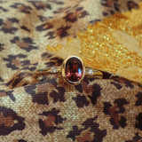 Rubellite Tourmaline and Diamond 11k Gold Ring