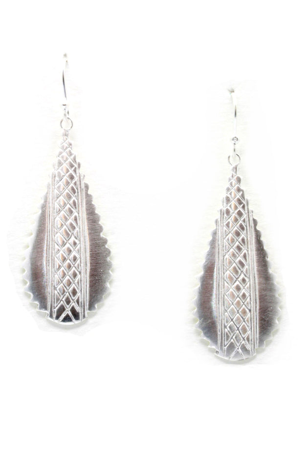Silver Crosshatched Earrings in African Style
