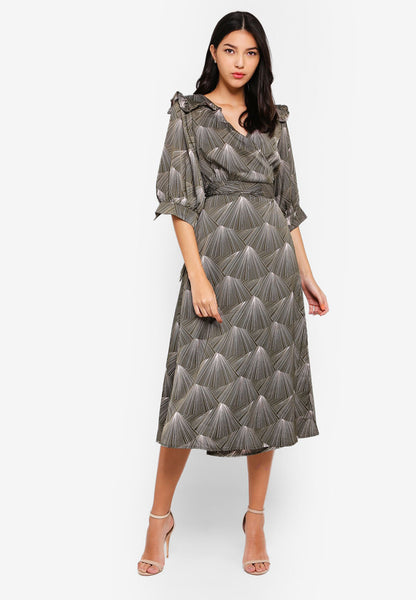 Jorra Wrap Sash Midi Dress