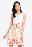Payton Pleated Abstract Midi Dress in White Orange