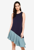 Dianella Slant Hem Dress in Navy Blue