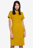 Prischa Frill Collar Midi Dress In Mustard