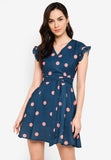 Odessa Polka Dots Midi Dress in Teal
