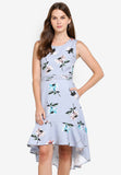 Florence Floral Print Dim Hem Dress in Dust Blue