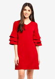 Shonley Layered Sleeves Midi Dress In Red