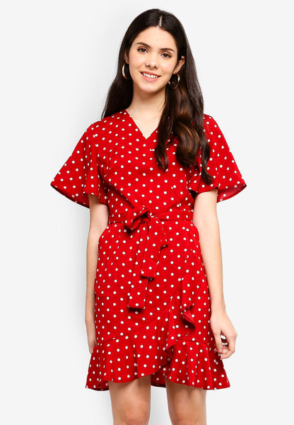 Ardelo Polka Dot Print Sash Midi Dress