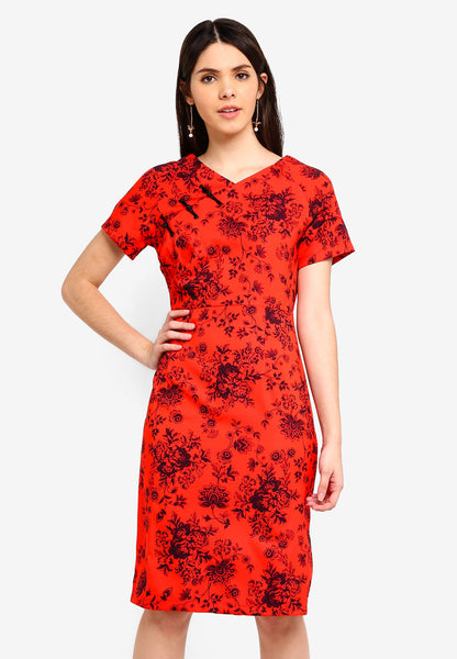 Hensely Floral Print Cheongsam In Red