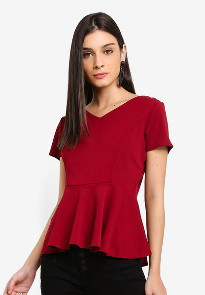 Nefla Peplum Top In Red