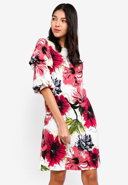 Quandra Layered Sleeves Floral Print Shift Dress