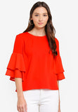 Qeres Layered Sleeve Top in Red