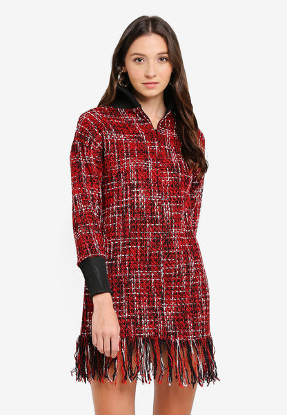 Julipe High Neck Plaid Tweed Mini Dress