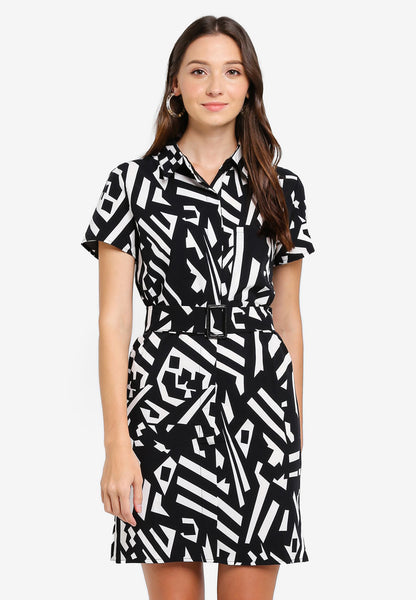Rarye Texture Collar Sash Shirt Dress