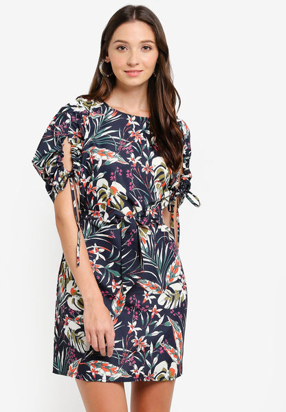 Oneryn Floral Print Sash Sleeves Belted Midi Dress