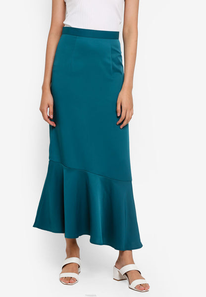 Adah Asymmetrical Hem Maxi Skirt In Green