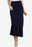 Adah Asymmetrical Hem Maxi Skirt In Navy Blue