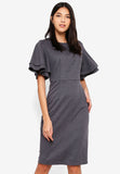 Veldette Layered Sleeves Midi Dress In Grey