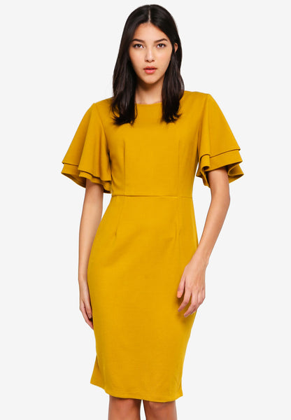Veldette Layered Sleeves Midi Dress In Yellow