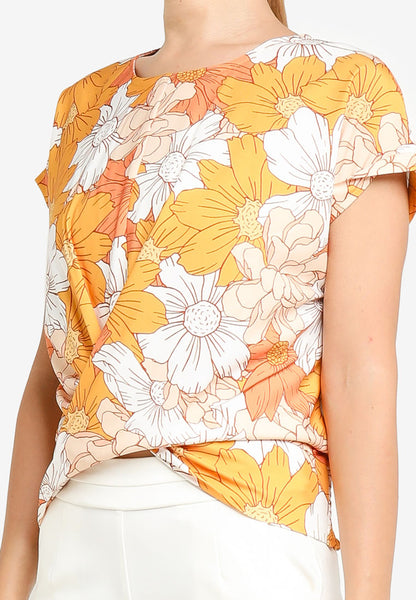 JULY Women Floral Print Blouse in Mandarin
