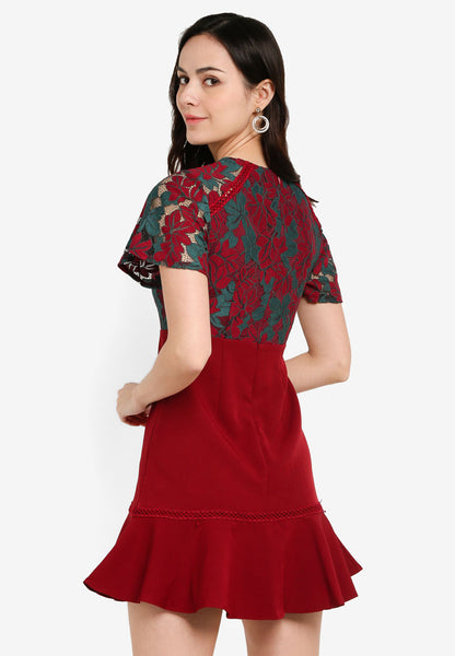 Alondra Lace Overlay Dress in Red Green