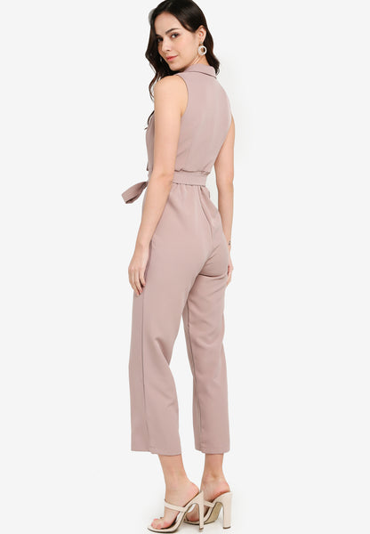 Rosaleen Twist Front Jumpsuit In Dusty Pink