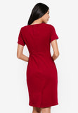 Prischa Frill Collar Midi Dress In Red