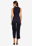 Rosaleen Twist Front Jumpsuit In Navy Blue