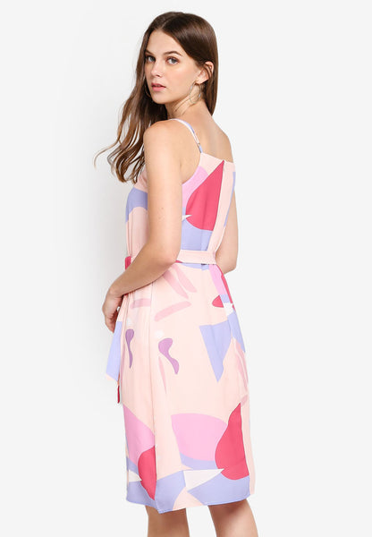 Gretchen Abstract Print Dress in Pink