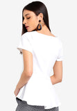 Nefla Peplum Top In White