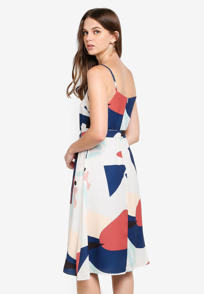 Gretchen Abstract Print Dress In Beige
