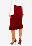 Calleo Ruffle Trumpet Skirt In Red