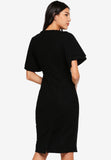 Veldette Layered Sleeves Midi Dress In Black