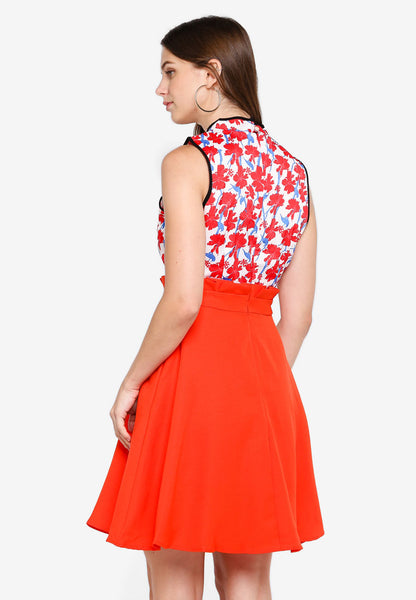 Paveka Floral Cheongsam In Red