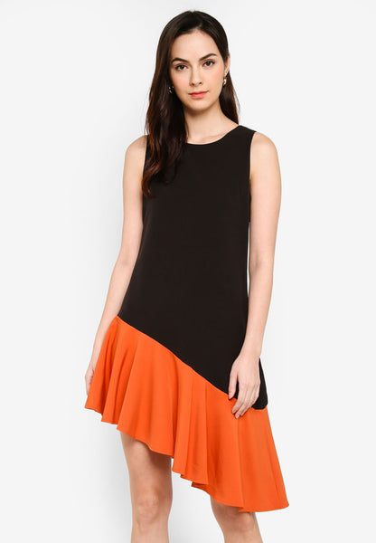 Dianella Slant Hem Dress in Black/Orange