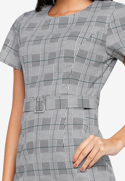 Russo Tweed Tailored Midi Dress In Grey