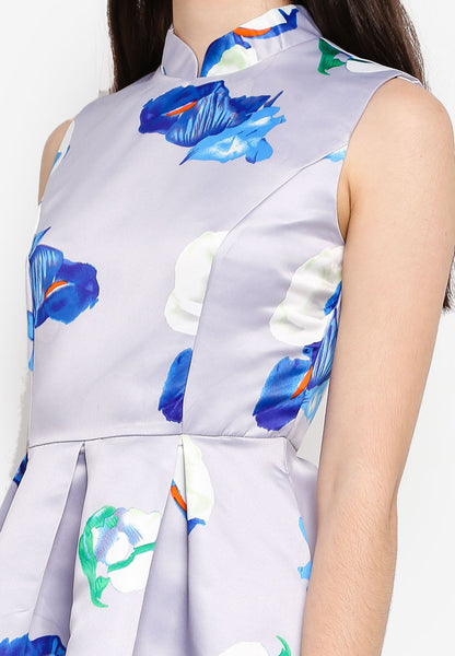 Gisele Mandarin Collar Floral Print Midi Dress