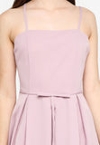 Lerisa Pleat Midi Dress In Dust Pink