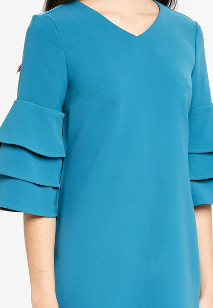 Shonley Layered Sleeves Midi Dress In Green