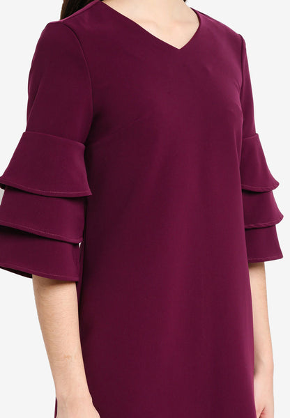 Shonley Layered Sleeves Midi Dress In Maroon