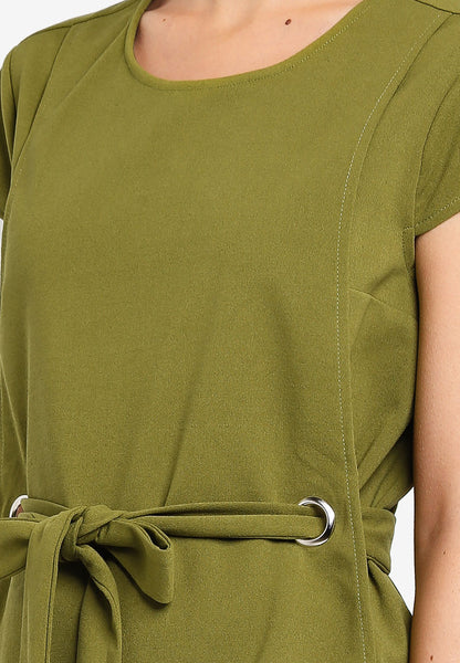 Lisbeth Layered Sash Top In Green