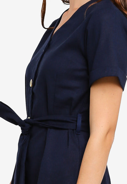 Malmarie Collar Sash Button Shirt Dress