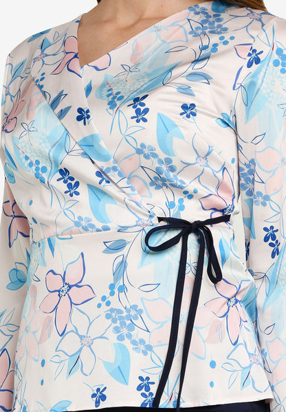 Margot Wraparound Sash Top In Light Blue