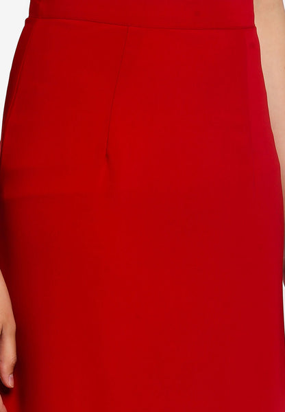 Adah Asymmetrical Hem Maxi Skirt In Red