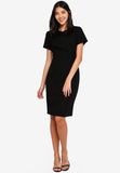 Prischa Frill Collar Midi Dress In Black