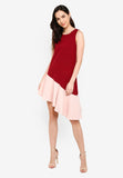 Dianella Slant Hem Dress in Red/Pink