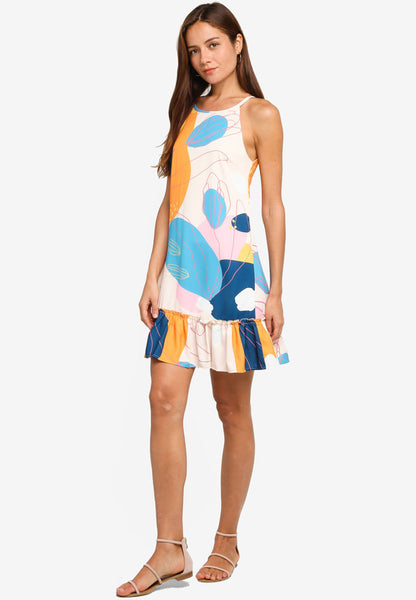 Ellis Abstract Prints Diphem Dress in Citrus